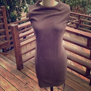 Taupe suede-like mini dress